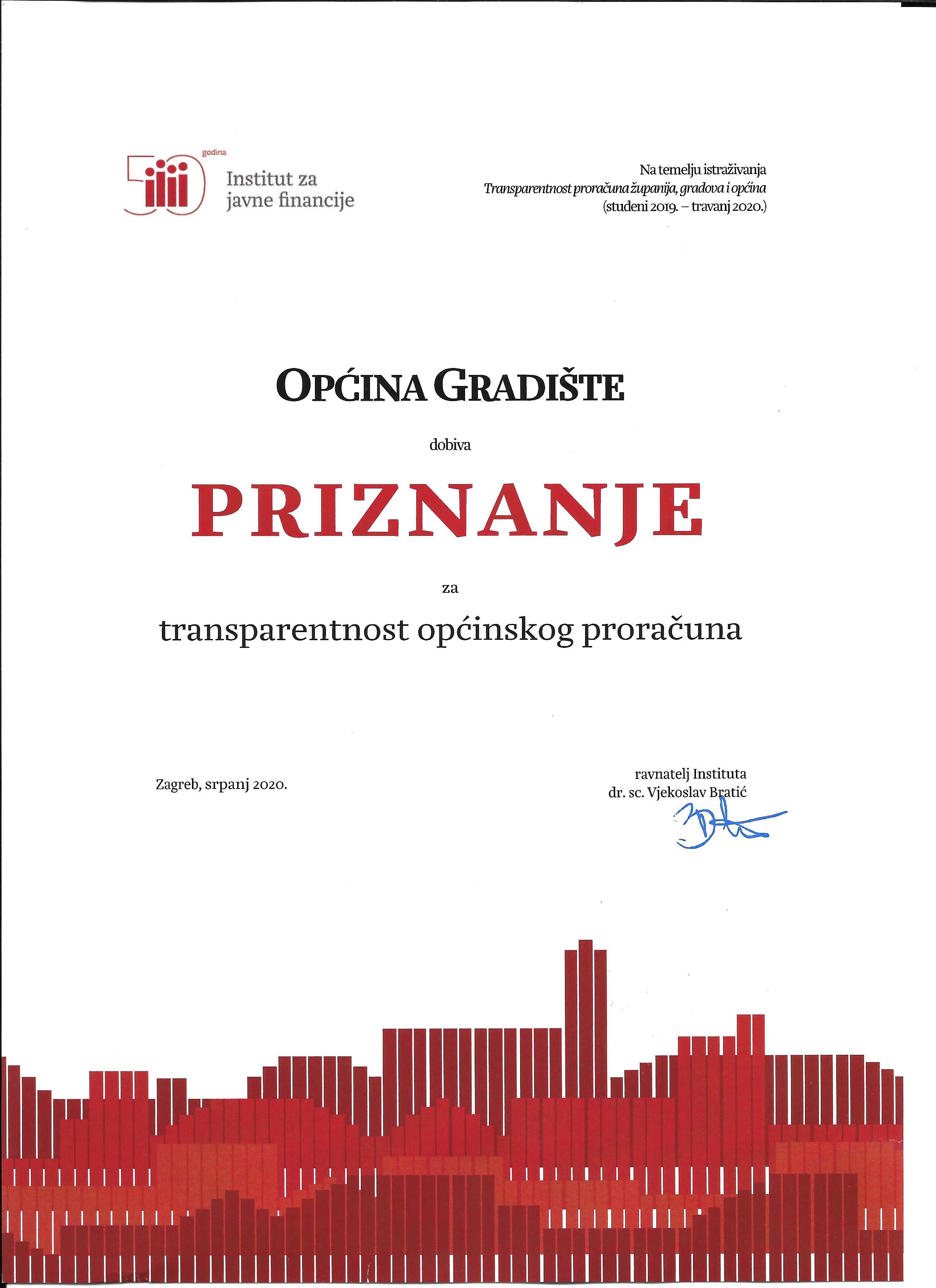 Općina Gradište dobila priznanje Instituta za javne financije za transparentnost